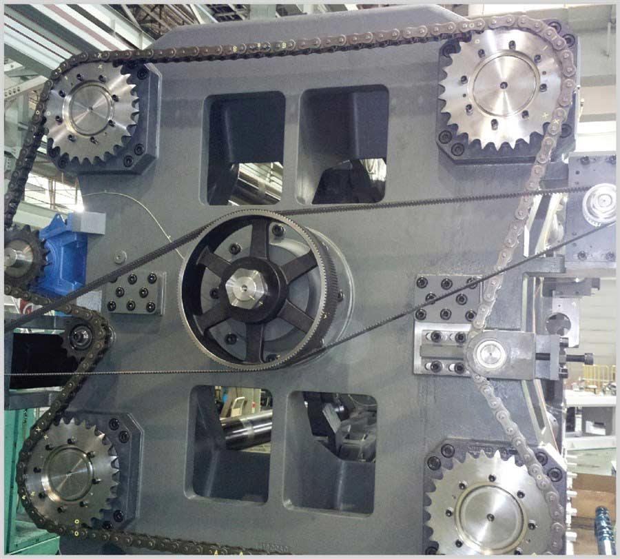 Movimentazione unità di chiusura con servomotori brushless in configurazione Master-Slave. Funzione di recupero dell'energia in fase di decelerazione.